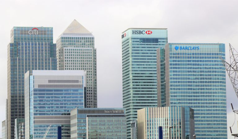 Image of high-rise banking buildings.
